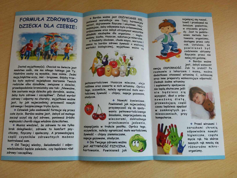 """Ulotka dla dzieci - projekt LT-PL-1R-042: """"Poprawa opieki zdrowotnej nad dziećmi w regionie przygranicznym Litwy i Polski"""""""